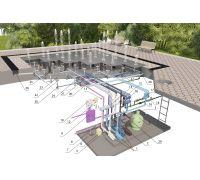Оборудование для  пешеходного фонтана 4х4 (16 форсунок)