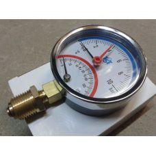 Термоманометр вертикальный 10bar/120* (d80х1/2)