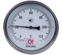 """Термометр биметаллический тип БТ-51.211. 0..+120°C,100 мм, L=46мм, G1/2"""" (сзади), кл.1,5, Росма"""