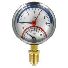 Термоманометр радиальный 1/2 D80 t120 1.0Мпа